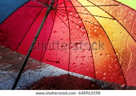 Umbrella on rainy day,selective focus.