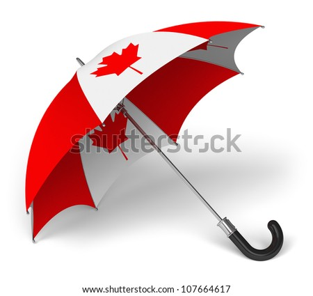 Umbrella with Canadian national flag isolated on white background
