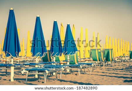 umbrellas and sunbeds at rimini ...
