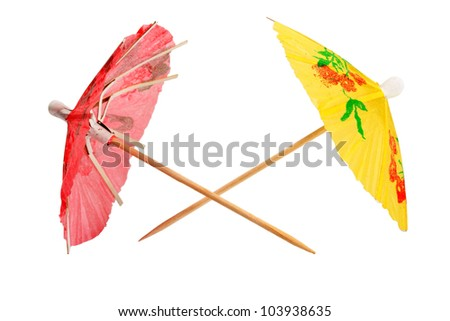 umbrellas cocktail isolated on white background