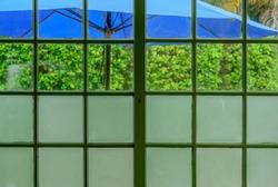 umbrellas of blue color through glass windown