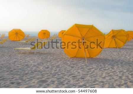 Umbrellas on South Beach in Miami, Florida - stock photo