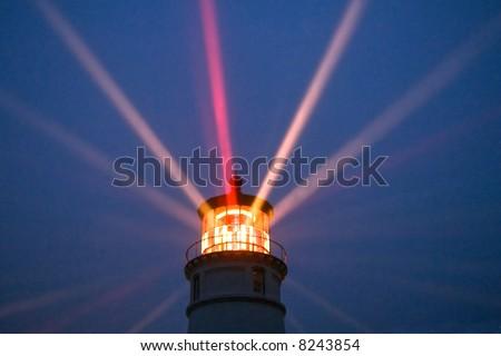 umpqua lighthouse along oregon coast at night, actual beam