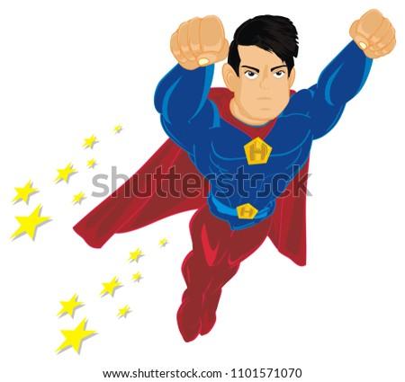 Stock Photo un happy superman with stars