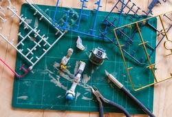 Unassembled parts of  model kits