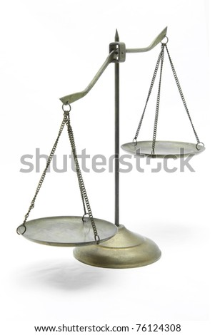 unbalance of golden brass scales of justice on white front perspective