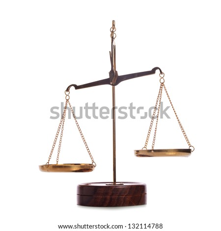 Unbalanced golden vintage scales isolated on white - stock photo