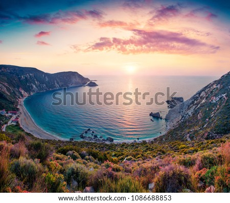 Unbelievable spring view of Petani Beach. Great sunset on Cephalonia Island, Greece, Europe. Beautiful evening seascape of Mediterranen Sea. Fantastic outdoor scene of Ionian Islands. #1086688853