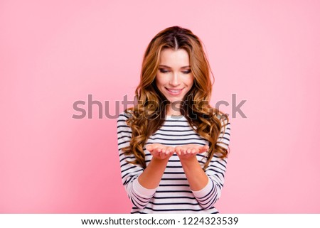 Unbelievable unexpected face lady in casual clothes hold on hand palm displaying demonstrate or look on decision idea solution she stand impressed incredible isolated on pastel pink background #1224323539