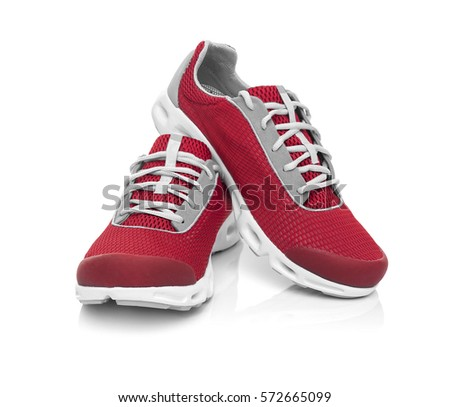 Unbranded modern sneakers isolated on a white background. Red sneakers. #572665099