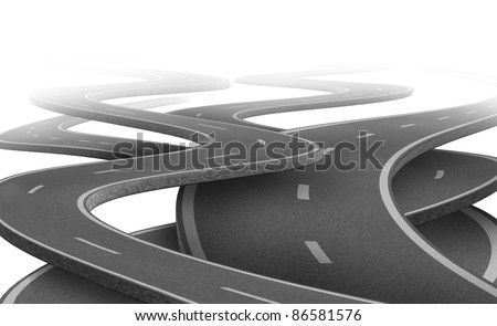 Uncertain path and  future as a strategy dilemma and concept of choosing the right strategic path for business after planning represented by tangled roads and highways in a confused direction.