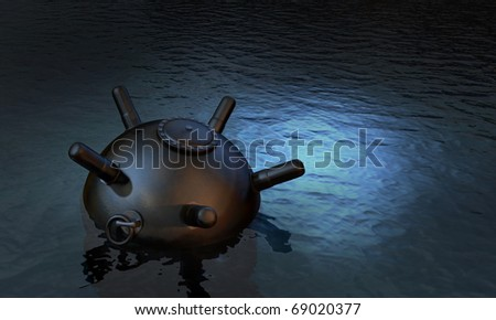 Unchained Sea Mine Laying Waiting On The Water Surface Stock Photo ...