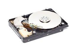 Unclasped hard disk,isolated, white background