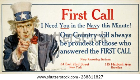 Uncle Sam, 'First Call' US Navy recruiting poster by James Montgomery Flagg, 1917 Zdjęcia stock ©