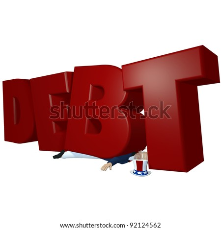 Uncle Sam - Flattened by Debt.  In the red.  Uncle Sam carrying too much debt on his back has been flattened. Isolated on a white background