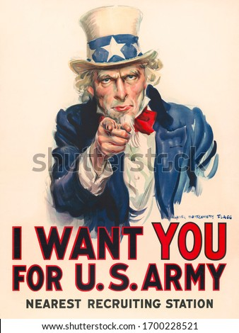 Uncle Sam, 'I Want You' Poster for recruiting people into US Army by James Montgomery Flagg in 1917 Zdjęcia stock ©