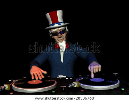 Uncle Sam's in the House and spinning some patriotic tunes. Turntables with vinyl albums.