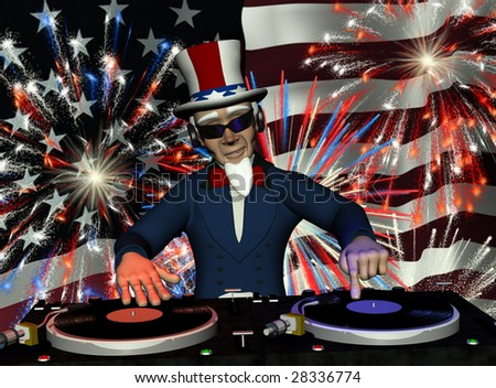 Uncle Sam's in the House and spinning some patriotic tunes. Turntables with vinyl albums and a fireworks light show.