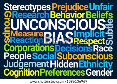 Unconscious Bias Word Cloud on Blue Background Stockfoto ©