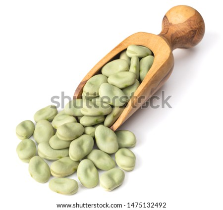 uncooked dried green faba beans in the wooden scoop, isolated on white background