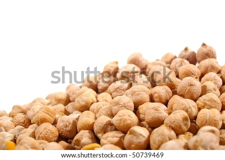 Uncooked Organic brown soup chickpeas in close up
