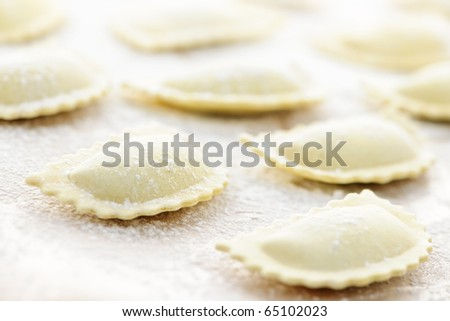 Uncooked ravioli pasta prepared and ready for cooking