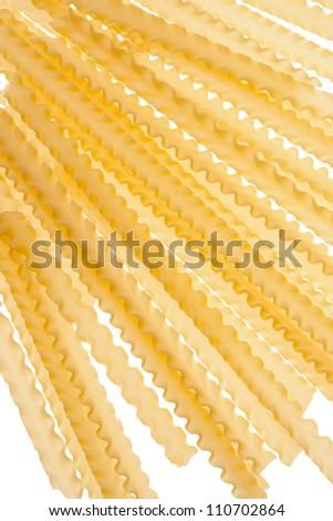Uncooked raw pasta mafalde.