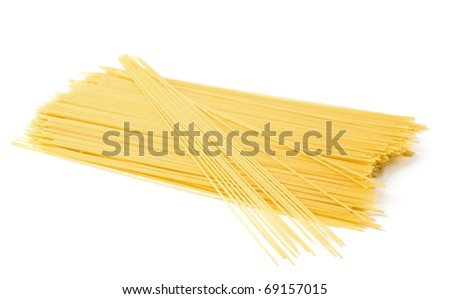 uncooked spaghetti close-up on a white background