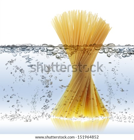 uncooked spaghetti in boiling water