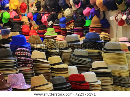 Uncountable colorful hats and many of hat stacks in the hat shop