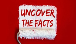 Uncover the Facts .One open can of paint with white brush on it on red background.