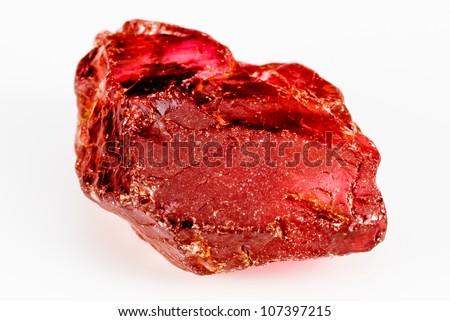 Uncut and raw Garnet crystal.  This natural Garnet has a crisp reddish color.