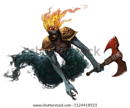 Undead evil ghost creature wearing armor and holding an axe flying through the air isolated white background - digital fantasy painting