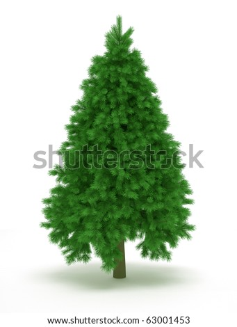 Undecorated christmas tree over white - 3d render illustration
