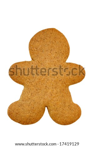 Undecorated Gingerbread Cookie, isolated on white with copy space.  Cookie is ready for your decorations.