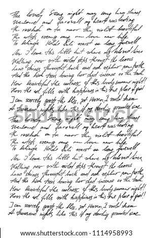 Undefined text with english words. Handwritten letter. Handwriting. Calligraphy. Abstract texture background