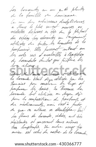 Undefined text with french words. Handwritten letter. Handwriting. Calligraphy. Manuscript. Script. Font. Abstract texture background #430366777