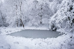 Under a heavy snowfall a woodland dew pond is gripped in winter's icy embrace.