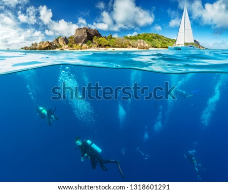 Under and above water surface view of divers. Underwater fauna and flora, marine life and exotic island on background #1318601291