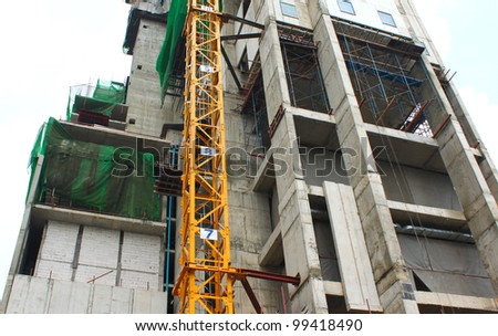 Under construction building in bangkok - stock photo