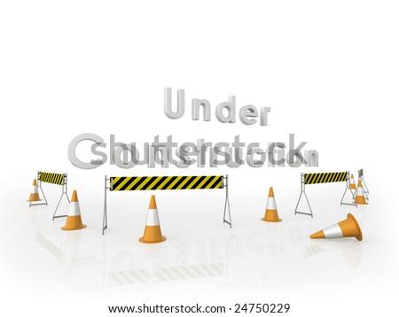 Under construction. 3D illustration.