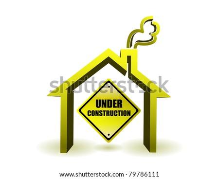 Under construction house illustration design over white