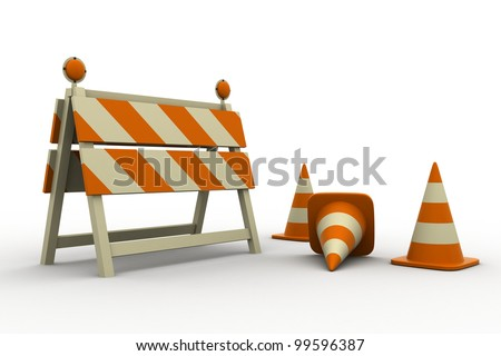 Under construction ,objects isolated in white background - stock photo