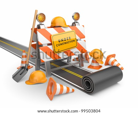 Under construction of road 3D. Build concept. 3D illustration isolated on white