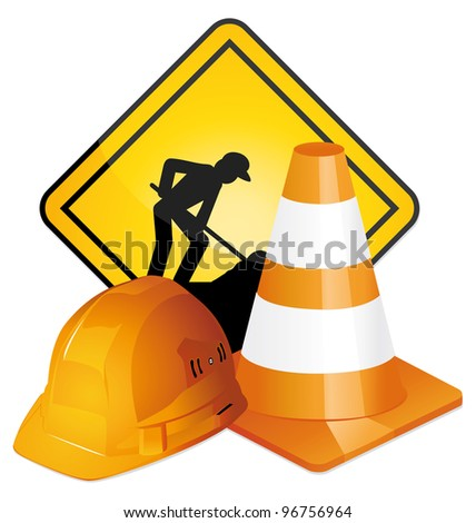Under construction sign, hardhat and traffic cone icons.