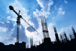 Under Construction Site Silhouette with blue sky