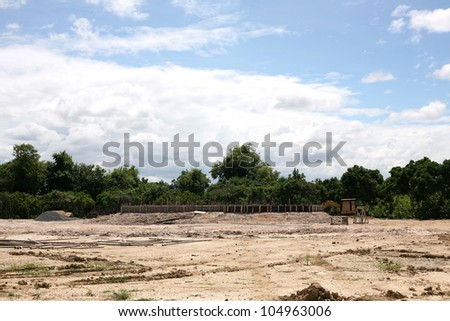 Under construction site with blue sky background