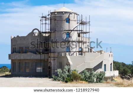 Under construction tavern. Russia. 12.06.2018: Unfinished roadside tavern on the southern coast of Crimea