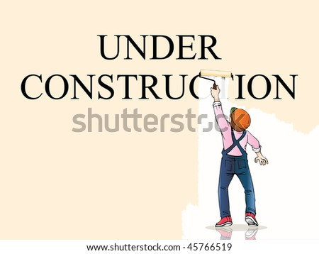 Under construction worker painting over white background; vector for your website