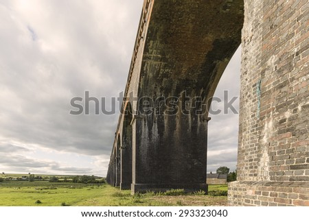Under one of the 82 arches of Harringworth viaduct,showing the size and scale of this wonderful structure. Harringworth Northamptonshire, England.